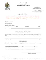 "Form MVD-369 ""Light Trailer Affidavit"" - Maine"