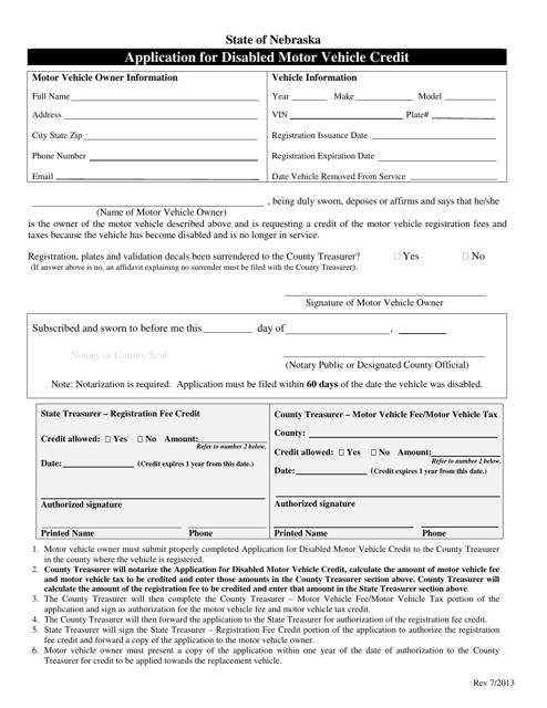 """""""Application for Disabled Motor Vehicle Credit"""" - Nebraska Download Pdf"""