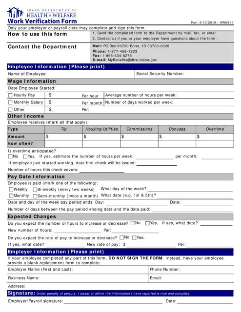 Form HW0411  Printable Pdf