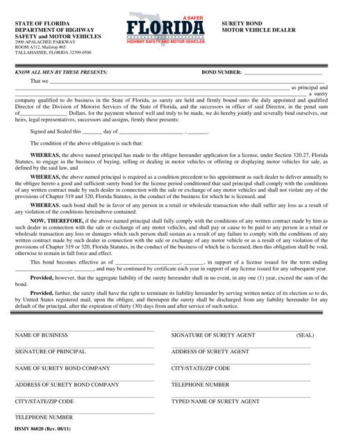 Form HSMV86020  Printable Pdf