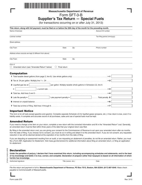 Form SFT-3-B  Printable Pdf