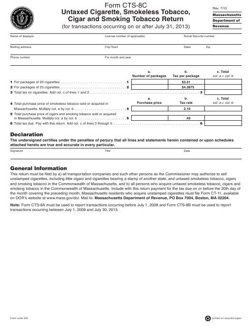 Form CTS-8C  Printable Pdf