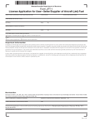 "Form JFT-1 ""License Application for User-seller/Supplier of Aircraft (Jet) Fuel"" - Massachusetts"
