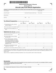 "Form JFT-9 ""Aircraft (Jet) Fuel Refund Application"" - Massachusetts"