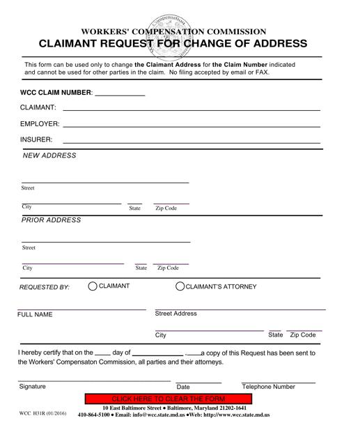 WCC Form H31R  Printable Pdf