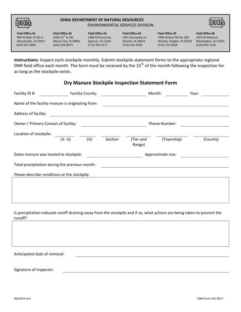 DNR Form 542-0017  Printable Pdf