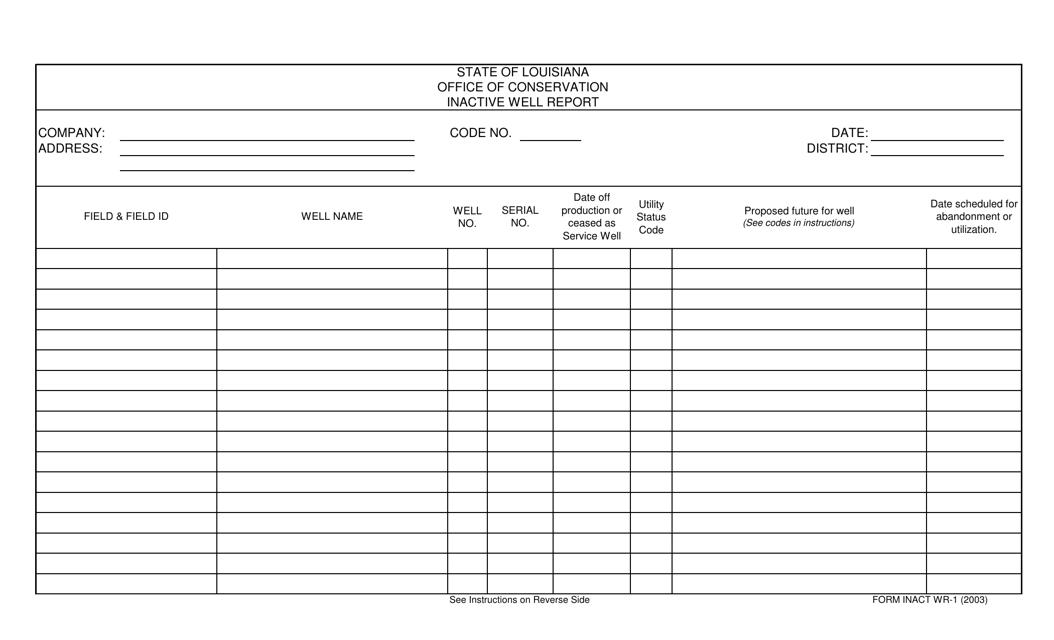 Form WR-1  Printable Pdf