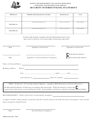 """DNR Form B-208 """"Security Interest Filing Statement"""" - Maryland"""