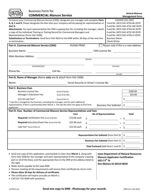 DNR Form 542-4022  Printable Pdf