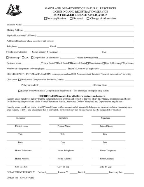 DNR Form B-141  Printable Pdf