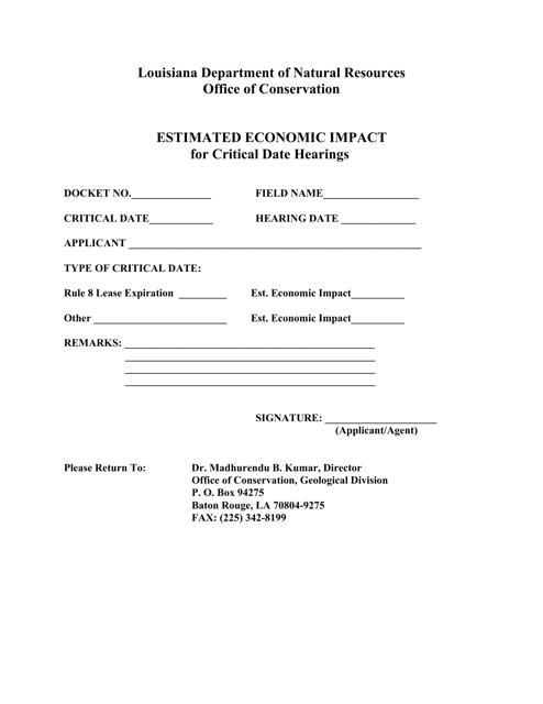 """Estimated Economic Impact for Critical Date Hearings"" - Louisiana Download Pdf"