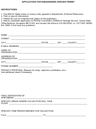 """Form DNR/FPWS-62 """"Application for Endangered Species Permit"""" - Maryland"""