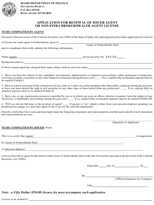 """""""Application for Renewal of Issuer Agent or Non-FiNRA Broker/Dealer Agent License"""" - Idaho Download Pdf"""