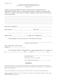 """""""Affidavit of Exemption From the Kentucky Workers' Compensation Act (Individual)"""" - Kentucky"""