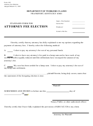 "Form 109 ""Standard Form for Attorney Fee Election"" - Kentucky"