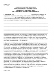 "Form SI-01 ""Self-insurers' Guarantee Agreement"" - Kentucky"