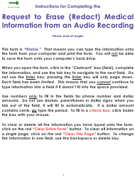 """Form WC34 """"Request to Erase (Redact) Medical Information From an Audio Recording"""" - Colorado"""