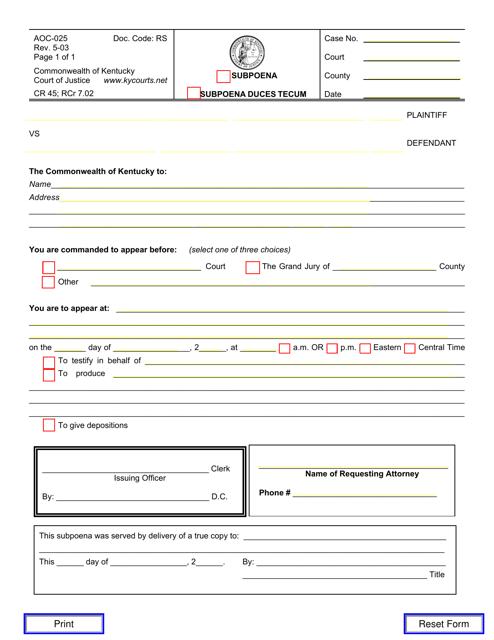 Form AOC-025  Printable Pdf