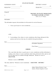 "Form FDP-03 ""Motion to Waive Mediation in Foreclosure Action"" - Maine"