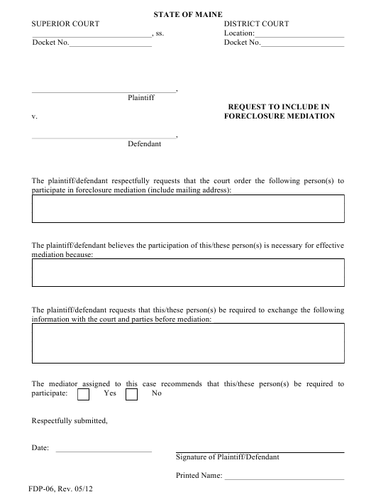 Form FDP-06  Printable Pdf
