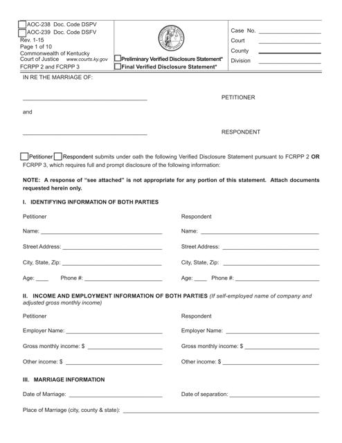 Form AOC-238 (AOC-239)  Printable Pdf