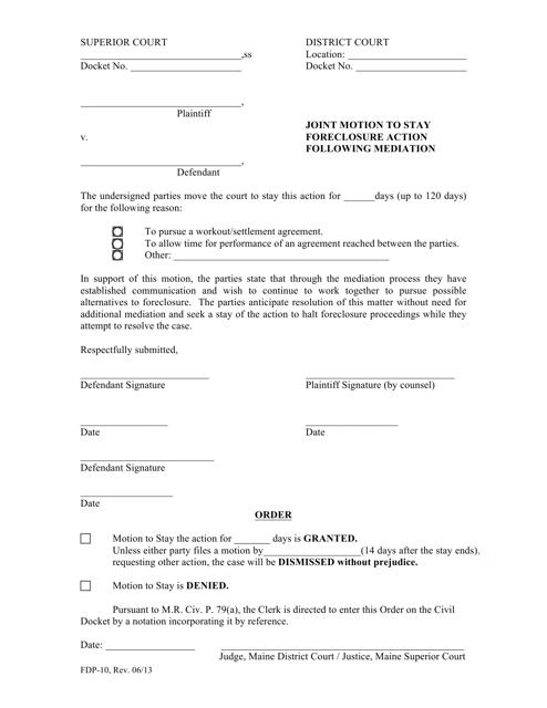 Form FDP-10  Printable Pdf