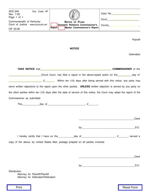 Form AOC-240  Printable Pdf