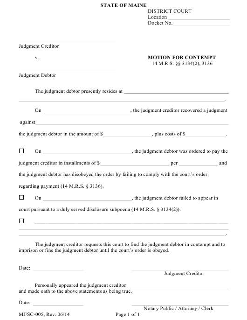 Form MJ/SC-005  Printable Pdf
