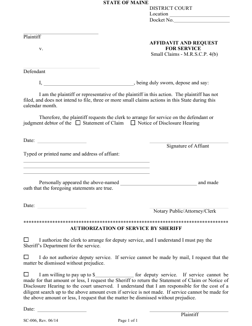 Form SC-006  Printable Pdf