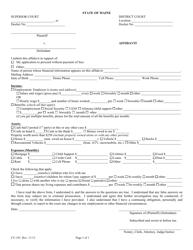 """Form CV-191 """"Affidavit"""" - Maine"""