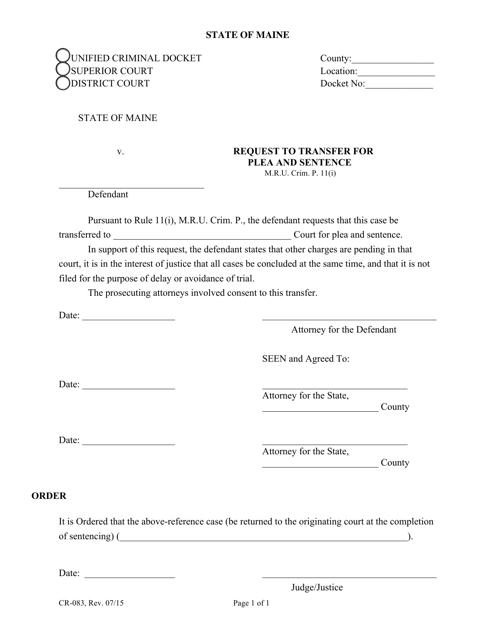 Form CR-083  Printable Pdf