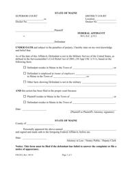 "Form FM-052 ""Federal Affidavit"" - Maine"