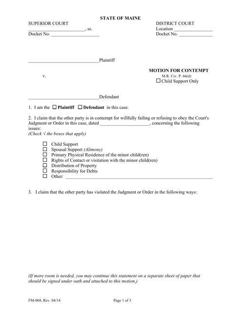 Form FM-068  Printable Pdf