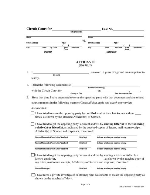 Form DR73  Printable Pdf
