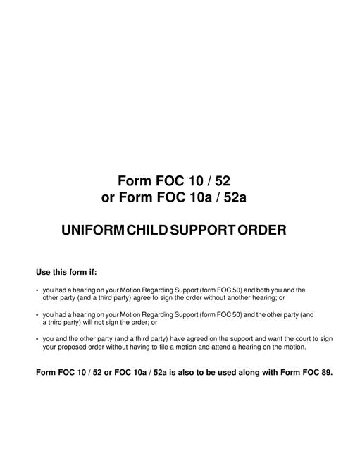 Form FOC10, FOC10A, FOC52, FOC52A  Printable Pdf