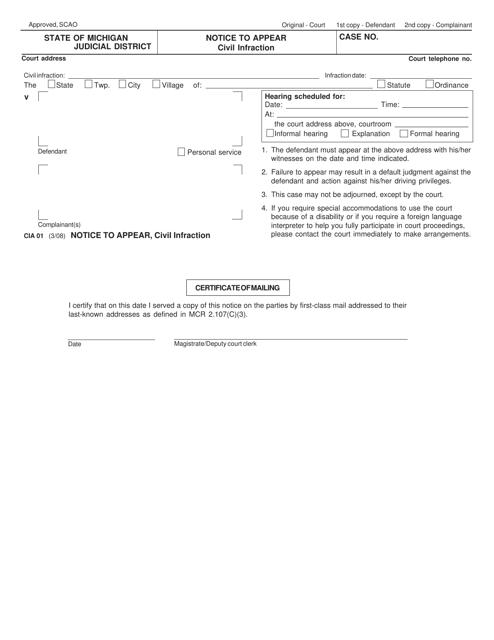 Form CIA01  Printable Pdf