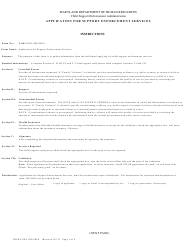 """Form DHR/CSEA980/980A """"Application for Support Enforcement Services"""" - Maryland"""