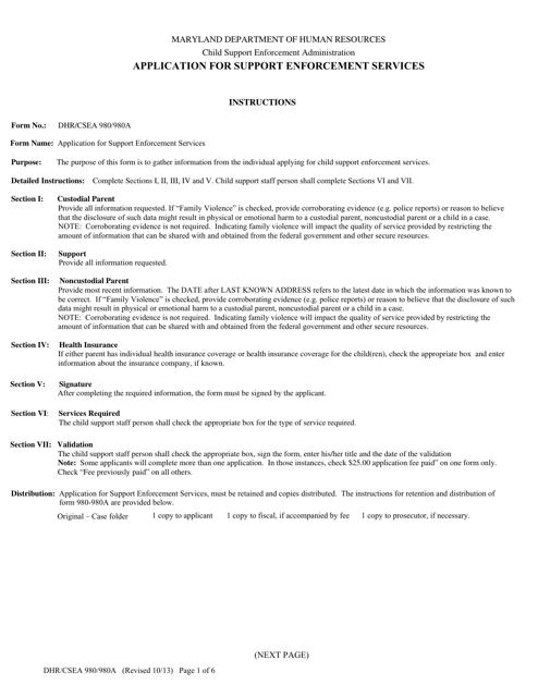 Form DHR/CSEA980/980A  Printable Pdf