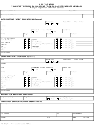 """Form DHS-4819 """"Confidential Voluntary Medical Background Form for a Surrendered Newborn"""" - Michigan"""