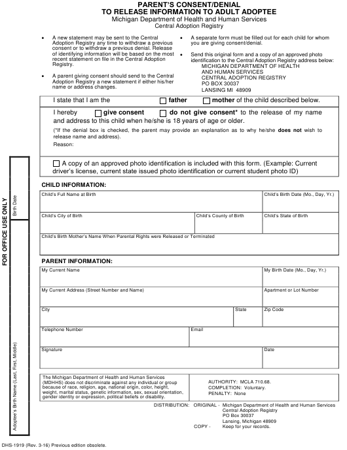 Form DHS-1919  Printable Pdf