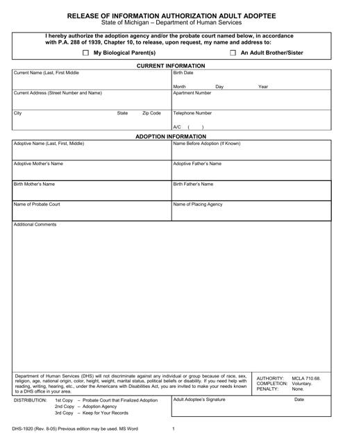 Form DHS-1920  Printable Pdf