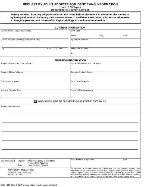 Form DHS-1925  Printable Pdf