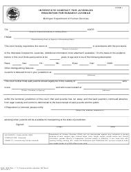 "Form DHS-1908 (ICJ Form I) ""Interstate Compact on Juveniles Petition for Requisition to Return a Runaway Juvenile"" - Michigan"