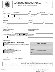"Form DHS-3038 (ICJ Form IV) ""Interstate Compact for Juveniles Parole or Probation Investigation Request"" - Michigan"