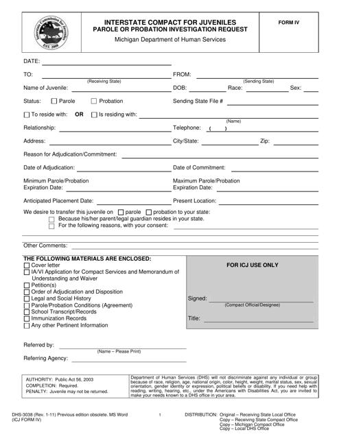 Form DHS-3038 (ICJ Form IV)  Printable Pdf