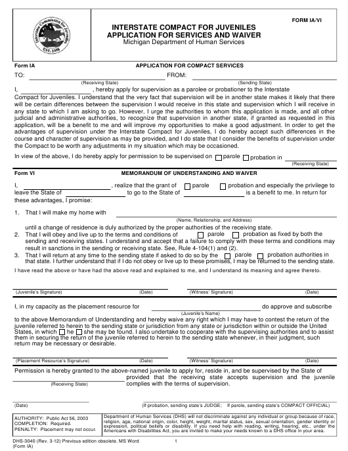 Form DHS-3040 (ICJ Form IA; ICJ Form VI)  Printable Pdf
