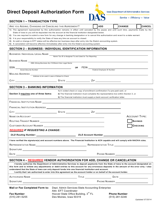 """Direct Deposit Authorization Form"" - Iowa Download Pdf"
