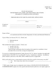 "Form HC-7 ""Prepaid Health Care Plan Review Application"" - Hawaii"