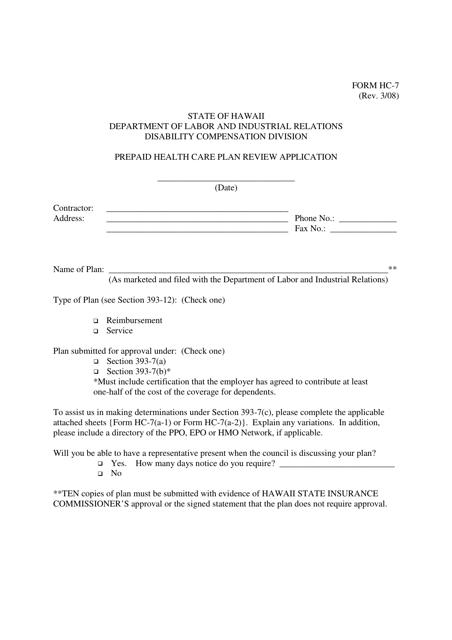 Form HC-7  Printable Pdf