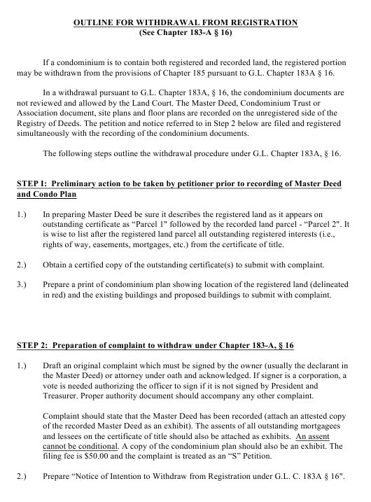 """""""Outline and Form for Withdrawal From Registration"""" - Massachusetts Download Pdf"""
